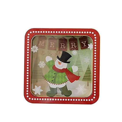 Cosanter Grand Coffret Cadeau Noël Boîte Cadeau Transparente Carré(Bonhomme De Neige Foulard Rouge)