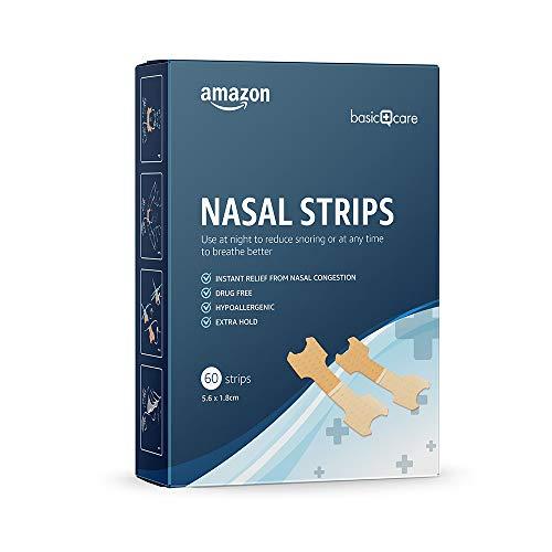 Amazon Basic Care - Tiras nasales para reducir la congestión y los ronquidos, tamaño medio, 60 tiras