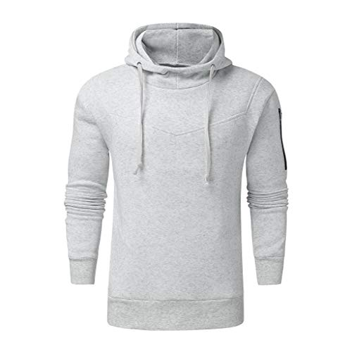 DNOQN Herren Mode Winter Reißverschluss Utility Sweatshirt Langarm Tops Bluse Grau L