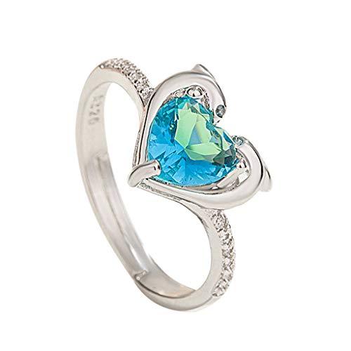 minjiSF Anillo de diamante en forma de corazón para mujer, de alta calidad, exquisito, elegante, regalo de compromiso, boda, anillo de compromiso (plata)