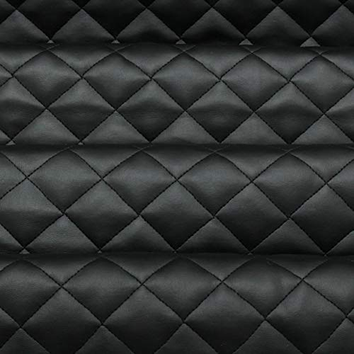 Black Quilted Leather Diamond Stitch Padded Cushion Linen Wadding Faux Leather Interior Vehicle Upholstery Fabric