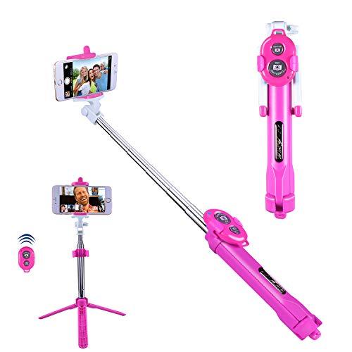 Selfie Stick Bluetooth, Alfort Selfie Stick Espandibile con Telecomando, Selfie Stick Integrato con Treppiede, Adatto per Telefoni Cellulari Entro 5,5 Pollici (Rosa)