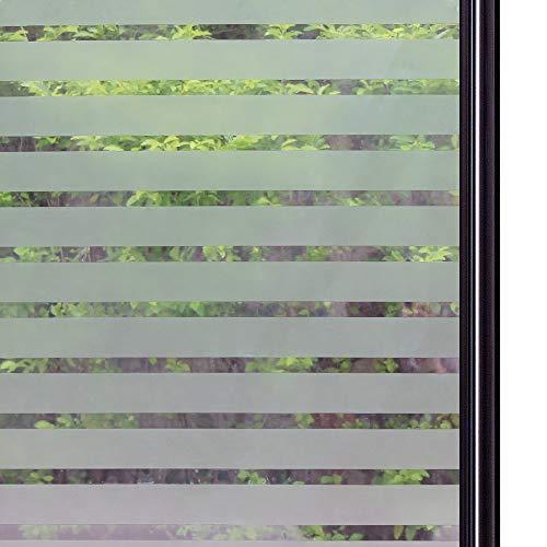 Qualsen sichtschutzfolie Fenster fensterfolie Milchglasfolie Sichtschutz gestreifte Folie Anti-UV für Zuhause, Büro, Tagungsraum (90 x 200 cm, Dicker Streifen)