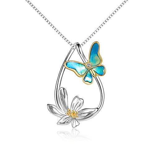 Collar de mariposa Plata de ley Chapado en oro Lágrima Margarita Collar con colgante de mariposa Joyería Regalos