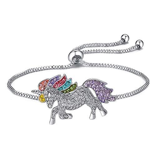 aixingwuzi - Braccialetto Portafortuna in Argento 925 con Strass e Unicorno e Cavallo smaltato, per Donne e Bambini e Nessuno, Colore: Color, cod. () 5({@39741