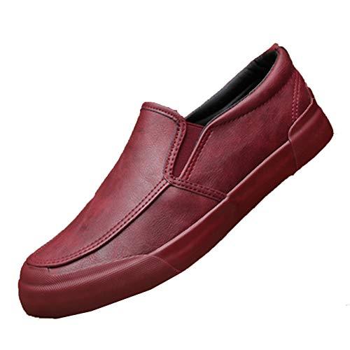 Mocasines de Hombre Low-Top Slip-On Otoño Invierno Zapatos Planos de Cuero Estilo Simple Resistente al Desgaste Zapatos Casuales de Punta Redonda de Felpa