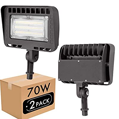 Lightdot Outdoor LED Flood Security Light with Knuckle Mount, (70W Eqv 300w) 5000K Adjustable Angle Required for Illuminating Flagpole/Tree/Yards/Advertising Boards