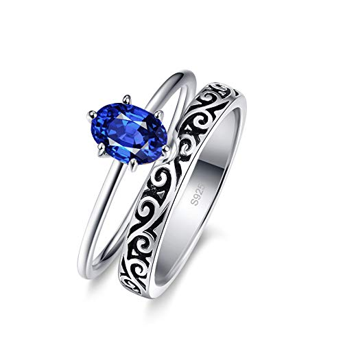 Bonlavie 925 Sterling Silver Vintage Carved Engagement Ring Sets for Women Created Blue Sapphire Eternity Wedding Bands Size O