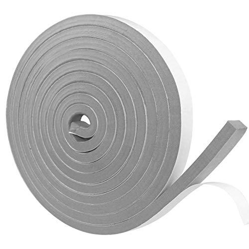 Dichtungsband Selbstklebend, Schaumstoff Dichtungsband Grau, 12mm(B) x12mm(D), Moosgummi selbstklebend für Tür Fenster, türdichtung, wetterfest, Anti-Kollision, Schalldämmung, Gesamtlänge4m