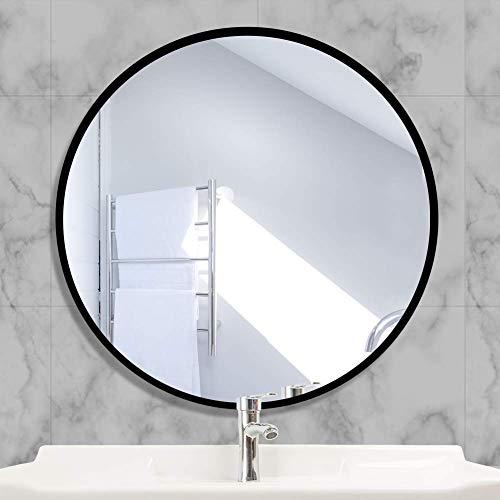 AUFHELLEN Rund Spiegel mit Schwarz Metallrahmen HD Wandspiegel aus Glas 40cm für Badzimmer, Ankleidezimmer oder Wohnzimmer Schminkspiegel (Schwarz, 40cm)