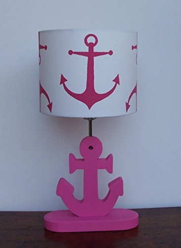 White with Pink Anchors Lamp Shade