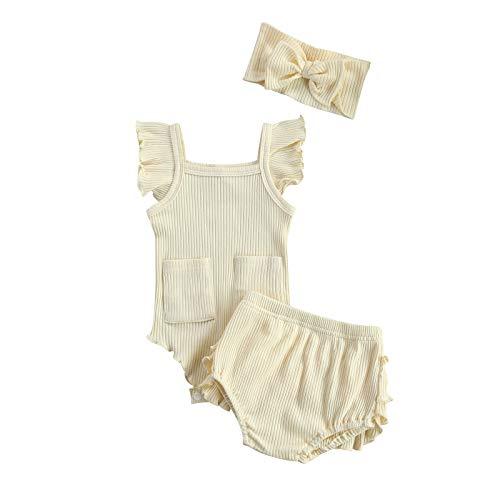 Conjunto de pantalones cortos de verano para niñas recién nacidas con volantes y diadema, juego de ropa de 3 piezas