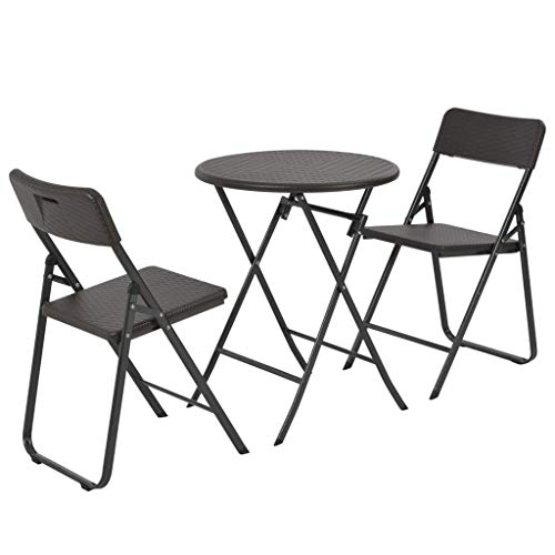 Tidyard 3-TLG. Bistro-Set Klappbar HDPE Braun Rattanoptik Bistro Set 3-Piece Folding Garden Furniture Balcony Set Balcony Furniture