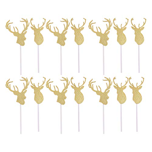 TOYANDONA 14pcs/2 Sets Christmas Cupcake Toppers Glitter Reindeer Cake Toppers Desert Picks for Birthday Xmas Holiday Party Cake Decoration Gold