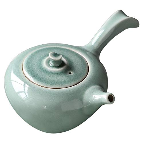 Tetera de porcelana de estilo japonés Tetera pequeña de cerámica, olla con asa lateral de estilo japonés, juego de té Kung Fu doméstico, tetera, olla individual pequeña hecha a mano, olla at
