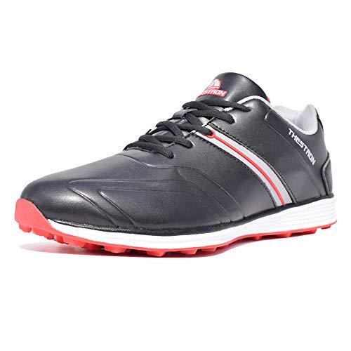 Thestron Herren Golf-Schuhe mit Spikelloser Sport-Sneaker Wandern Trainingsschuhe, Rot (rot), 39 EU
