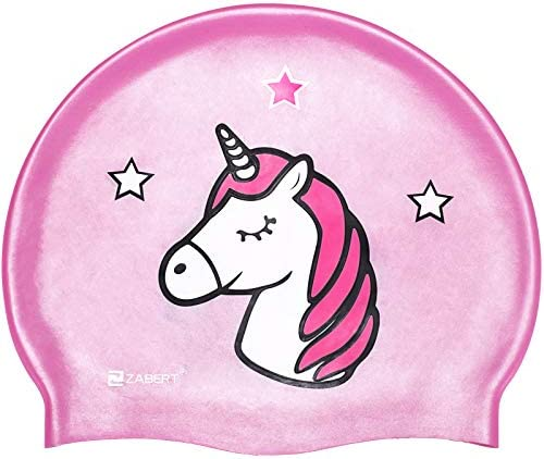 ZABERT C300 Pink Unicorn Large Size Girls Kids Swim Cap Hat Long Hair for Pool Swimming Bathing product image