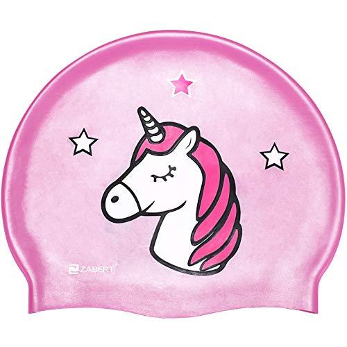 ZABERT C300 Kinder Badekappe Silikon Badekappen Wasserdicht schwimmhaube kinderbadekappe Jugend Jungen mädchen Baby - Lange Haare badehaube Bademütze Rosa Pink Einhorn große Größe