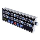 Uniquk Temporizador de Cocina Digital Comercial de 8 Canales, Temporizador Calculador de Acero Inoxidable con Alarma, Recordatorio de Reloj, Enchufe de la UE