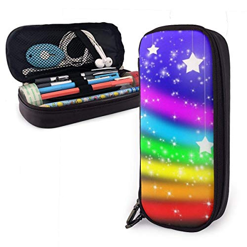 Yuanmeiju Rainbow and Glitter Stars Leather Estuche with Zipper,8 X 3.5 X 1.5 Inch Microfiber PU Leather Stationery Art Supplies College Office Pencil Holder Pen Case Pouch Unisex
