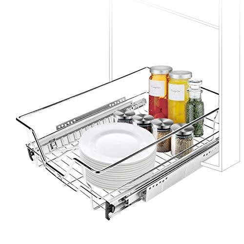 Kitchen Sliding Organizer Durable Pull Out Cabinet Shelf Chrome Wire Sliding Drawer Organizer Storage Basket for Kitchen Cabinet Bathroom 12.4
