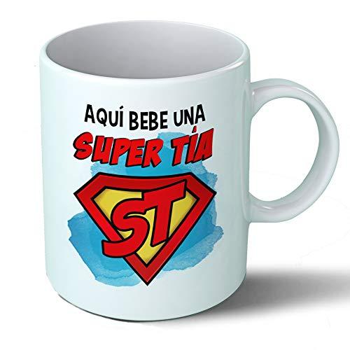 Planetacase Taza Tia - Aquí Bebe Una Super Tía - Regalo Original Tias Supertia Familia Taza Desayuno Café Ceramica 330 mL