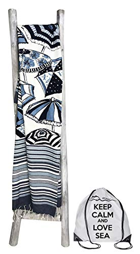 tex family strandlaken FOUTA parasol grootte met rugzak strand Keep Calm 100 x 200 cm