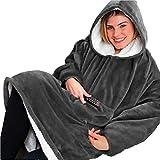 Seogva - Jersey-manta grande con tejido sherpa y capucha. Supersuave, cálido y cómodo, talla única, para hombres, mujeres, niñas, niños y amigos