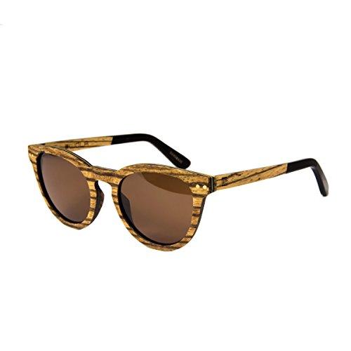 WOLA Sonnenbrille Holz FORREST Damen Herren Brille oval inkl Faltetui Vollholz Acetat Zebraholz