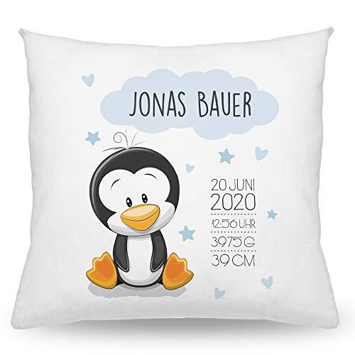 Babykissen mit Namen Tiere, Baby Kissen 40x40cm, Personalisierte Geschenke Baby, Taufgeschenk, Deko Kissen, Junge, Mädchen (Pinguin Blau)