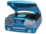 Trevi TT 1068 E - Tocadiscos (Tocadiscos de tracción Directa, Semiautomático, Azul, 33,45,78 RPM, Giratorio, Am,FM)
