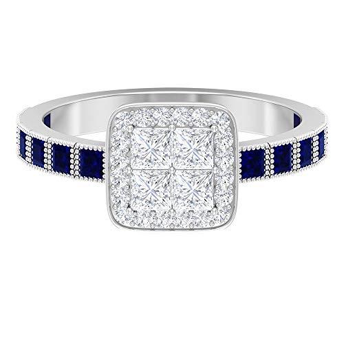 Anillo de diamante de talla princesa de 2,8 x 2,8 mm, 1,8 mm, creado en laboratorio, zafiro azul, 14K Oro blanco, laboratorio de zafiro azul creado, Size:EU 55