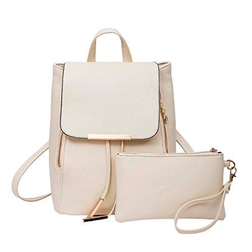Rucksack Kolylong 1Set 2 PCs Damen Vintage Rucksack PU Leder Elegant Schultasche für Mädchen Rucksackhandtaschen Umhängetasche Freizeit Daypacks Für Outdoor Sports Backpack (Beige)