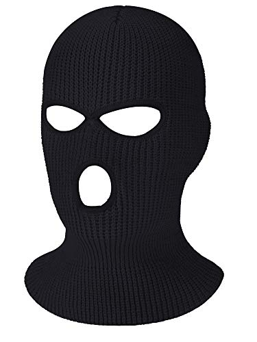 3-Hole Knitted Full Face Cover Ski Mask, Winter Balaclava Warm Knit Full Face Mask for Outdoor Sports (Black, Adult Size)