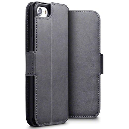 TERRAPIN, Kompatibel mit iPhone SE 2020 / iPhone 8 / iPhone 7 Hülle, ECHT Leder Börsen Tasche - Ultra Slim Fit - Betrachtungsstand - Kartenschlitze - Grau