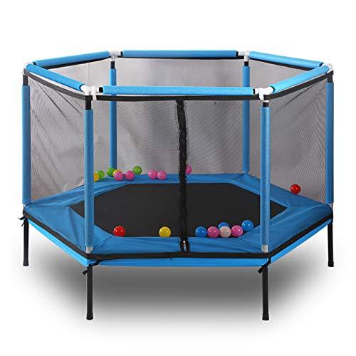 Kindersporttrampoline - met beschermhoes trampoline - bodemversterkingsontwerp - geschikt voor binnen/buiten - veilig en duurzaam - blauw - maximale belasting 100 kg