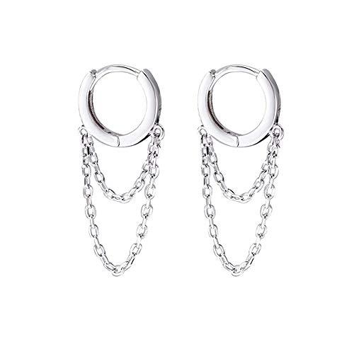 Tassel Chain Drop Dangle Small Hoop Earrings for Women Girls Men 925 Sterling Silver Huggie Helix Cartilage Tragus Daith Piercing Cuff Minimalist Fashion Personalized Punk Jewelry (Silver)