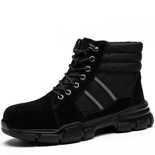 Hombres Botas de Seguridad Con Punta de acero, Ligero Cuero Zapatos de Seguridad Zapatos de Trabajo Industria Zapatos Protectores Antideslizante Calzado Deportivo Otoño invierno,Black with fur,EU47