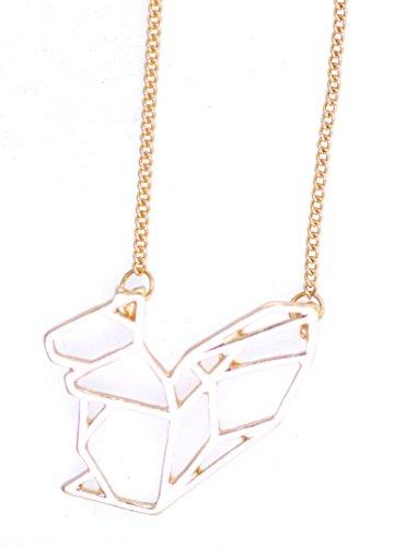 Lizzyoftheflowers–Super Cute oro, Cut Out, Origami ardilla Collar, Looks like un papel ardilla plegable pero hecho de metal