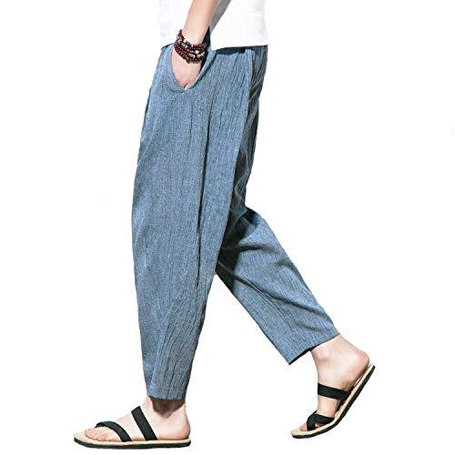 【Amazon限定ブランド】サルエルパンツ メンズ 夏 麻パンツ 9部丈 ワイドパンツ ヨガ 日常 メンズ リネンパンツ M SETSUGEN