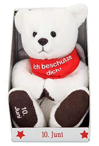 Depesche 8139.162 - Schutzengel Bär aus Plüsch, ca. 9 cm, mit Datum 10. Juni, Geschenk für Geburtstag, Jahrestag oder Hochzeitstag