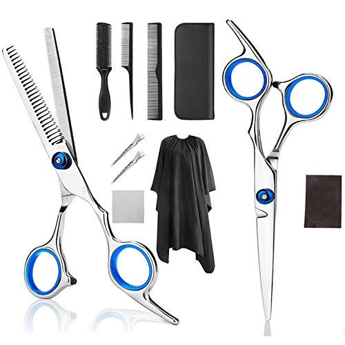 Professional Home Hair Cutting Scissors Home Hair Scissors Barber/Salon/Home Thinning Shears (with cloak clip comb) -11 Pieces Barber Scissors Set