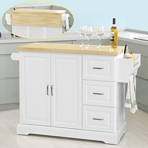 SoBuy® Küchenwagen Credenza, Tischplatte aus Holz, ausziehbar, mit Rollen, FKW41-WN,IT