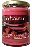 Codandle Candle | Strawberry & Rhubarb Jam | Large Vegan Natural Soy Scented Candle, 80 Hour Burn Time & UK Manufacturer