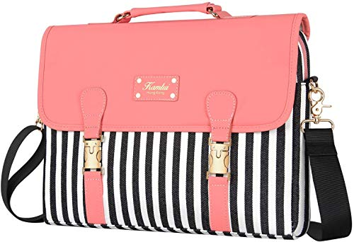 Kamlui 15.6 Inch Laptop Bag - for Women Cute Shoulder Messenger Macbook Pro Air Computer Laptop Case (Pink lid black and white stripes)