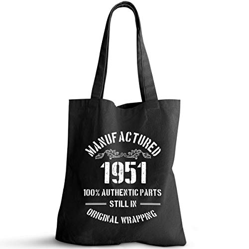 1951 Birthday Gifts for Women Men Ideas | 70th Birthday Gift Vintage 1951 Natural Cotton Reusable Tote Bag Classic 1951 (black)