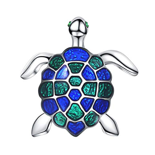 FOCALOOK Brosche bunten Emaille Meeresschildkröte Pin Brosche Damen platiniert Tier Anstecknadel Anzug Pullover Jacke Dekoration Accessoire