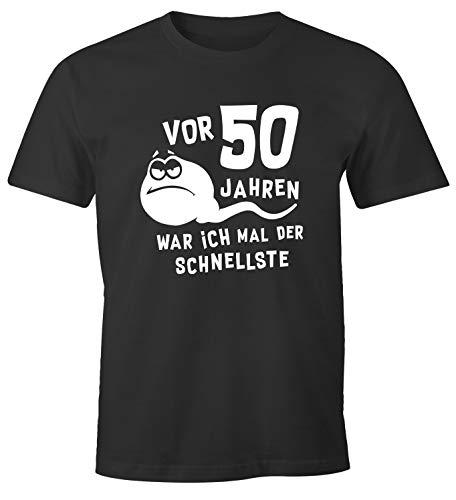MoonWorks® Herren T-Shirt 50. Geburtstag lustiger Spruch Sperma Spermium Geschenk für Männer anthrazit L