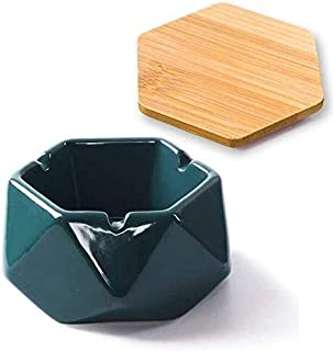 Ceramic Ashtray Windproof Cigarette Ashtray with Cover Ash Holder for Indoor Outdoor Use Desktop Smoking Ash Tray for Home...