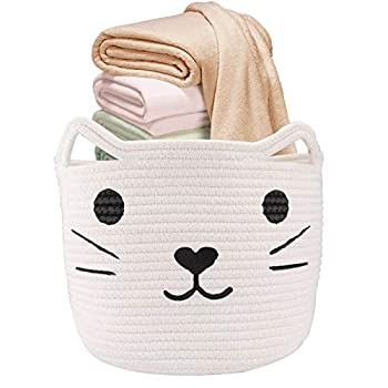 12  X10   Woven Basket White Toy Storage Basket Cat Design | LONTAN Cotton Rope Basket Collapsible Baby Hamper Cute Bathroom Storage Basket for Clothes Towels
